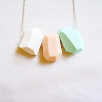 Mint Peach Geometric Necklace - Pastel Color Block -mint, peach, white - Rare Diamonds Collection