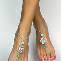 Tribal Silver and Turquoise Chained Barefoot Sandals Foot Jewelry Anklet Foot Thong Gypsy Sandals Bare Foot Jewelry