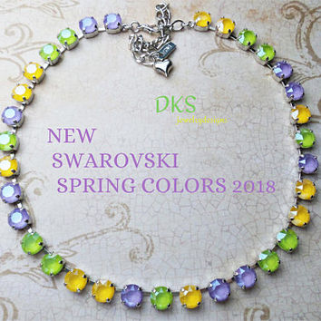 New Colors, Swarovski Necklace, 8mm, Multi Pastel, Spring, New Jewelry, Lilac, Easter, DKSJewelrydesigns, FREE SHIPPING