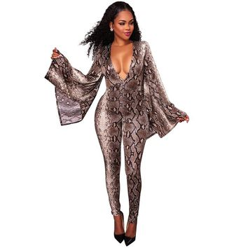 ae5a3645b8d2 Long Deep V Neck Bell Sleeves Snakeskin Printing Jumpsuits Sexy