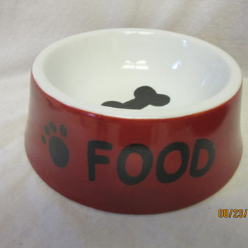 DOG Food bowl Dish Red, Ceramic Pottery Porcelain, Hand painted Kiln fired by B Marsh