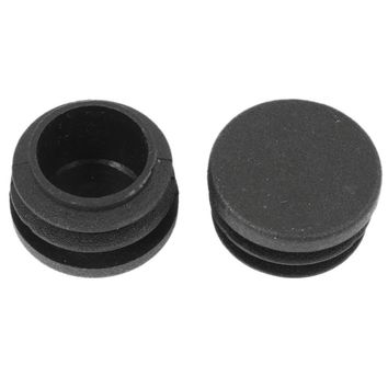 Chair Table Legs 28mm Dia Cap Round Ribbed Tube Pipe Insert 2 Pcs