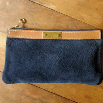 Mini Clutch Bag phone case small purse zip pouch wallet coin purse dark navy midnight blue vintage Davey's vtg 1970s 70s