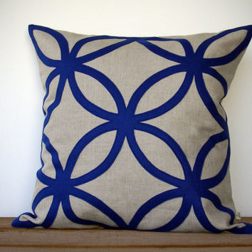 20in Cobalt Geometric PILLOW COVER in Natural Linen by JillianReneDecor | Designer Home Decor | Monaco Blue