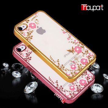 For Apple iphone 4S iphone 4 Case Bling Rhinestone Soft TPU Phone Back Cover Transparent Gold Plating Secret Garden