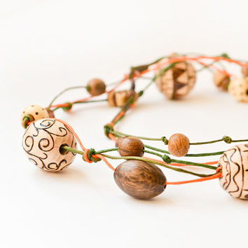 Orange Bohemian Wooden Necklace 2 - Chunky Wood Bead Necklace - Boho Pyrography  Eco Jewelry