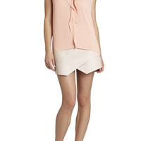 BCBG Ellan Sleeveless Draped-Placket Top