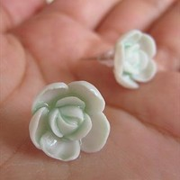 Handmade Ceramic Mint Green Roses Earrings. Flower Studs from Letsglamup