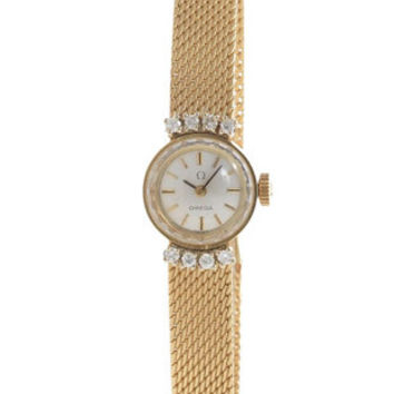 Pre-Owned Omega Ladies 14K Gold & Diamond Watch - White Dial