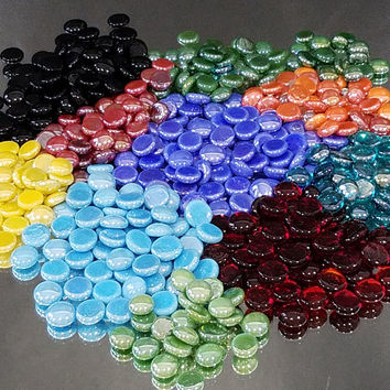 Glass Gems Mosaic Nuggets Tiles Pebbles Rocks Flat Marble Vase Filler Mosaic Crafts Large Multi Color Lot