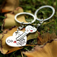 2015 Hot Sale Zinc Alloy Silver Plated Lovers Gift Couple Heart Keychain Fashion Keyring Key Fob Creative Key Chain KC-31202
