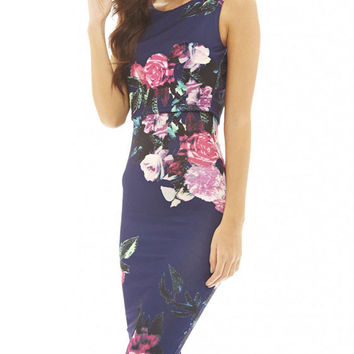 Blue Flowers Printed Sleeveless Summer Fake Two-piece Midi Bodycon Dress