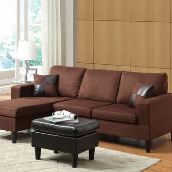 Acme 15900 2 pc robyn chocolate microfiber sectional sofa with reversible chaise