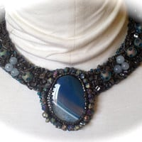 Bead Embroidered Collar, Unique Blue and White Cabachon