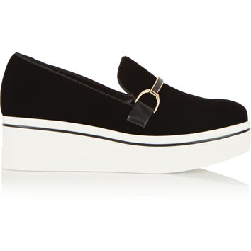 Stella McCartney - Embellished velvet platform sneakers
