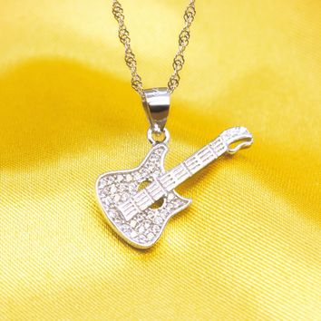 Lovely guitar 925 Sterling Silver zircon necklace, a perfect gift
