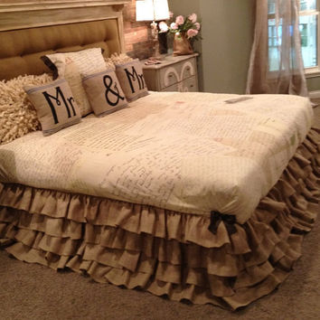 Burlap Ruffled Bed Skirt King and Queen