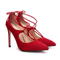 Red Pointed Toe Lace High Heels