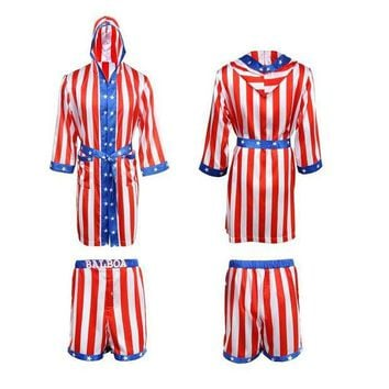 ONETOW Takerlama Rocky Balboa Apollo Movie Boxing American Flag Cosplay Shorts Robe Boxing Costume Robe and Shorts