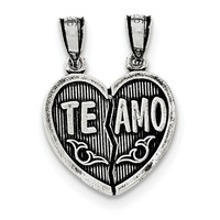 Sterling Silver Antiqued Te Amo Break Apart Heart Pendant QC8109