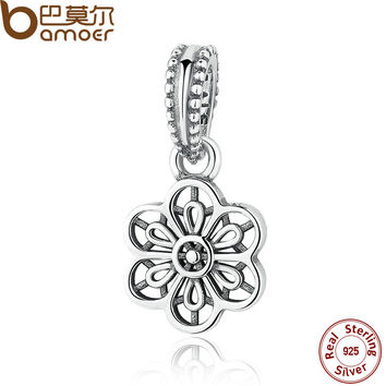 Authentic 925 Sterling Silver FLORAL DAISY LACE PENDANT CHARM Fit Bracelet Necklace for Women Fashion Jewelry PAS296