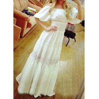 Fashion White Lantern Sleeve Off Shoulder Dress = 5739487937