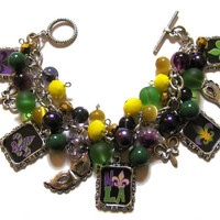 Mardi Gras Altered Art Charm Bracelet Green Purple Yellow Handmade Jewelry