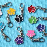 Mixed Color DOG  PAW PRINT Key Chains