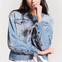 Gingham Embellished Denim Jacket