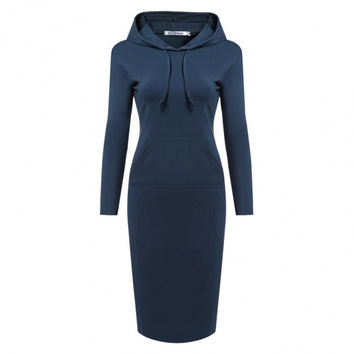 Women's Long Sleeve Hooded Bodycon Solid Hoodie Dress With Pockets
