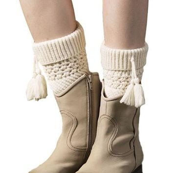 [16405] Boot Cuff Toppers With Tassel
