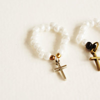 Daily Cross Ring // white and wood with black, adjustable --Fairy tale Inspired Accessories