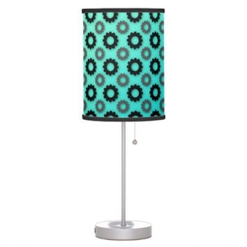 Grey and Black Cog Silhouettes Teal Table Lamp