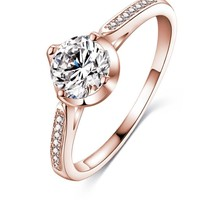 Simple Style Engagement Finger Rings Silver /Rose Gold  Color with Cubic Zirconia Fashion Jewelry Women Rings