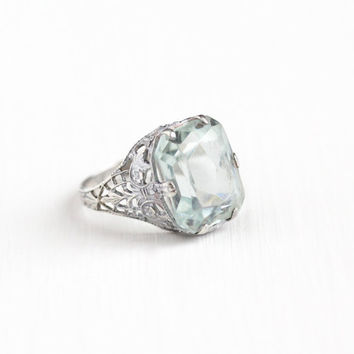 Vintage Art Deco Sterling Silver Simulated Aquamarine Ring - Size 4 1/4 Antique 1920s Flower Filigree Light Aqua Blue Glass Stone Jewelry