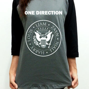 1D One Direction Ramones Logo Unisex Men Women Gray Long Sleeve Baseball Shirt Tshirt Jersey
