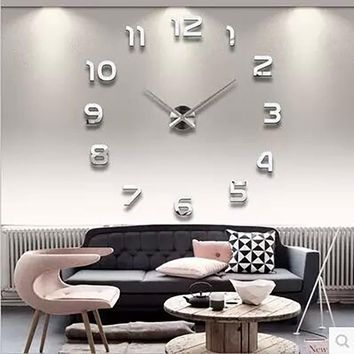 3D Luminous Real Big Wall Clock Rushed Mirror Wall Sticker Living Room Home Decor Fashion Watches  Quartz Large Wall Clocks