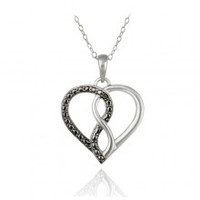 Sterling Silver Black Diamond Accent Open Heart Infinity Necklace