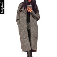 Women Sweater Cardigan 2016 Spring Hot Selling Casual Loose X-Long Solid Color Full Sleeve Big Pockets Knitted Sweaters WZL833