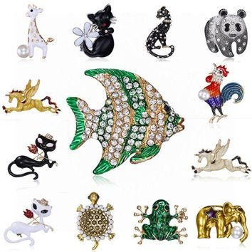 RINHOO Fish Frog Cat Tortoise Horse Brooches for Women Party Supplies Fashion Accessories Enamel Broach Collar Pins Gift Jewelry