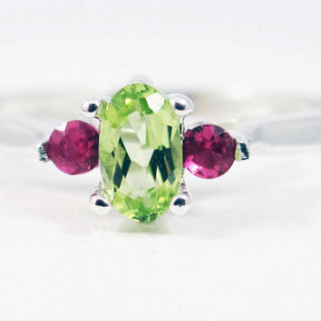 Small Peridot Oval and Ruby Accent Ring Sterling Silver, August Birthstone Ring, Peridot Gemstone Ring, July Birthstone Ring