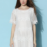 White Wreath Crochet Shift Dress  White