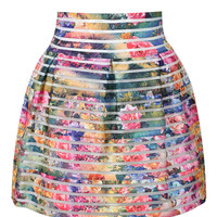 Multi Floral Sheer Stripe High Waisted Bubble Skirt