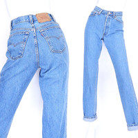 "Size 4/5 90s Levis 501 High Waisted Jeans - 26"" Waist - Vintage Women's USA Made Button Fly Slim Fit Mom Jeans"
