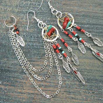 Turquoise and Coral dreamcatcher chained ear cuff SET