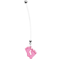 Pink Lucite Baby Feet Pregnant Belly Ring | Body Candy Body Jewelry