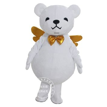 Adult White Bear Costume Angel Bear Mascot Suit