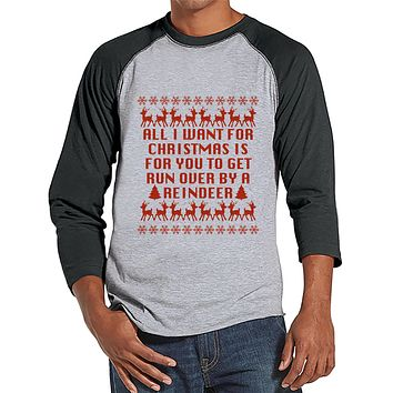Funny Men's Christmas Shirt - Ugly Christmas Sweater Party - Funny Ugly Sweater Gift for Him - Grey Raglan Tee - Christmas Gift Idea