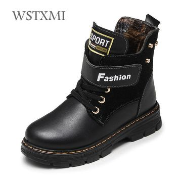 Autumn Winter Kids Boots Genuine Leather for Boys Shoes Fashion Mid-Calf Snow Boots Plush Warm Waterproof Children Martin Boots