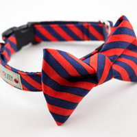 Navy Red Orange Stripes Dog Bowtie Collar